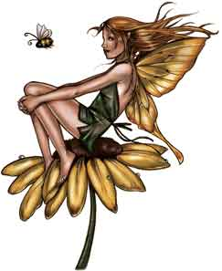 Pretty Whimsical Fairy Sitting on  			Sunflower
