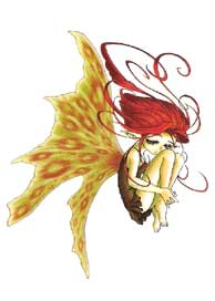 Red Haired  Crouching with Butterfly Wings
