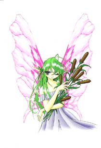 Green Hair Fairy with Cattails Bouquet