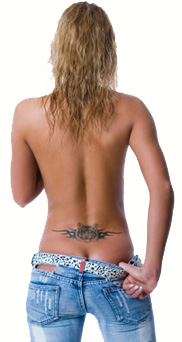 Topless blonde with tattoo on lower back