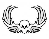 tribal skull with wings tattoo