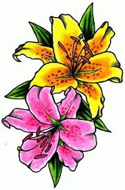 yellow and pink lily flower tattoo design
